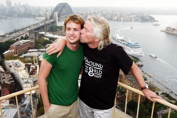 Richard Branson with his son Sam Branson