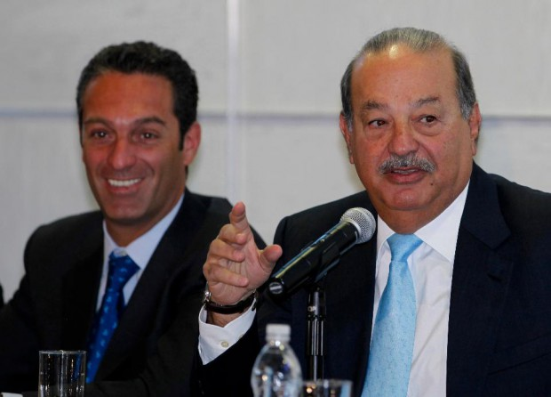 Carlos Slim and his son in a press conference