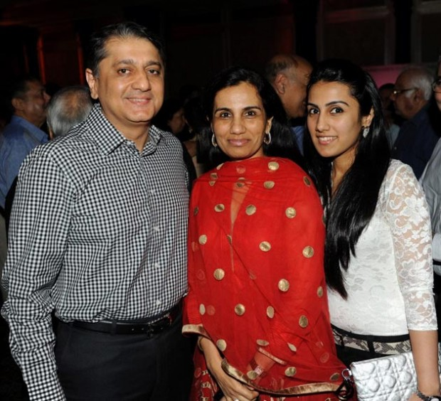 Chanda Kochhar with her husband Deepak Kochhar and daughter Aarti