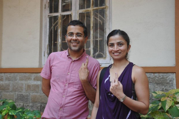 Chetan Bhagat with wife Anusha Bhagat at a polling booth voting for Loksabha Elections