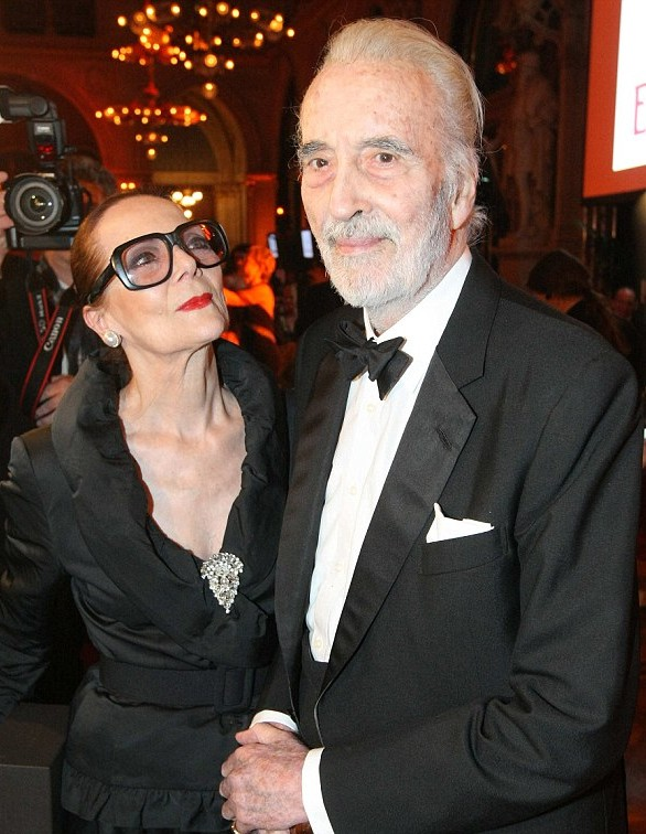 Birgit Kroencke and her husband Christopher Lee