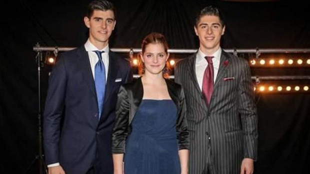 Courtois with his brother Gaetan and sister Valerie