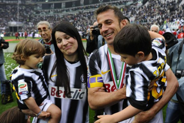 Del Piero with his wife and children
