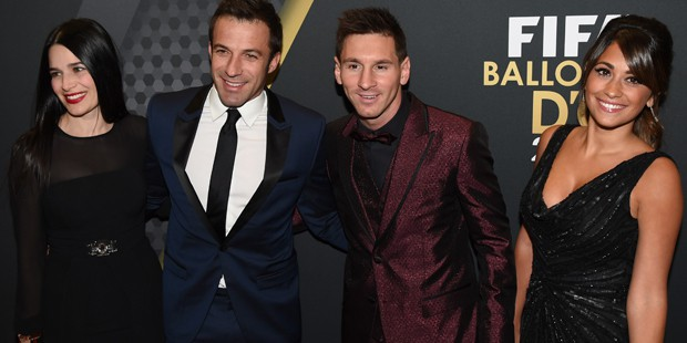 Del Piero and his wife with Lionel Messi couple
