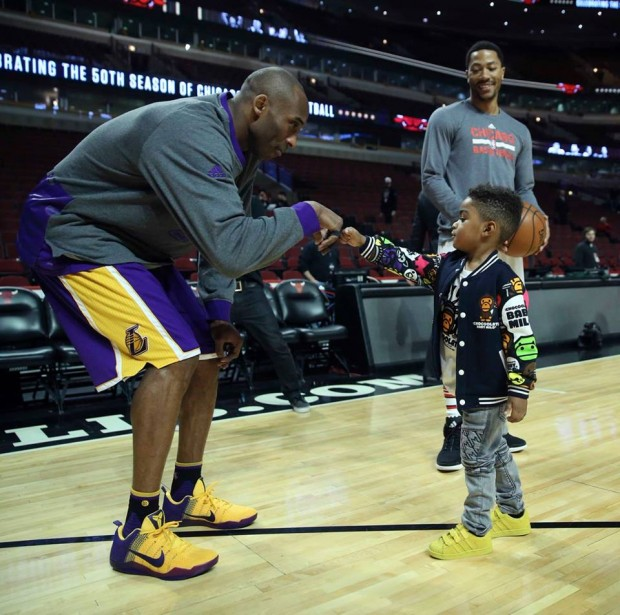 D Rose Son PJ with Kobe Bryant