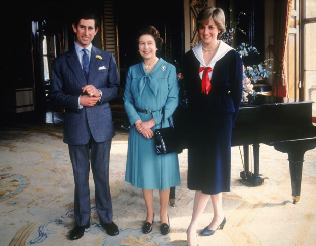 Prince Charles and Princess Diana with the Queen