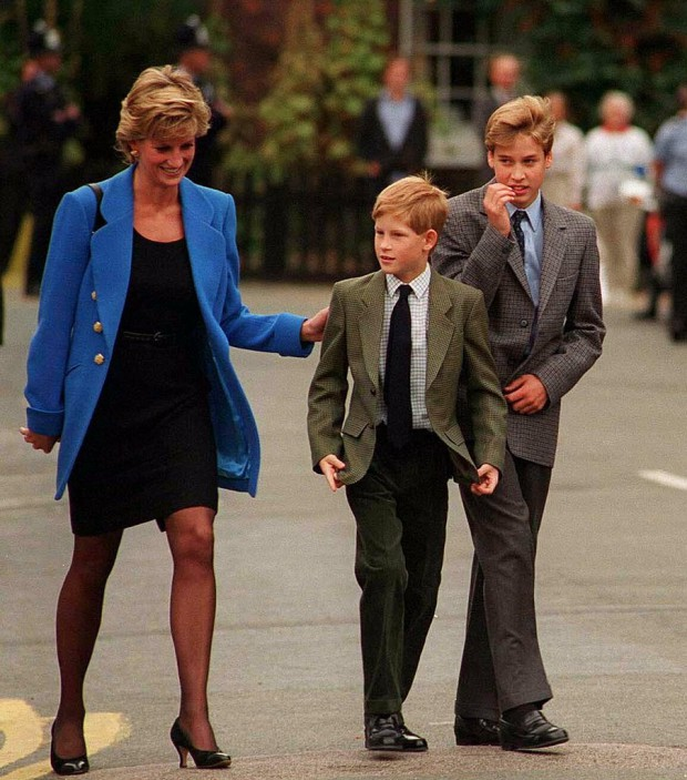 Diana walking along with her son Prince William and Prince Harry