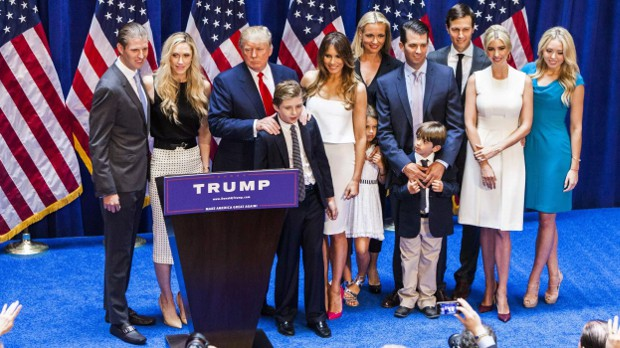 Donald Trump with his children and grandchildren
