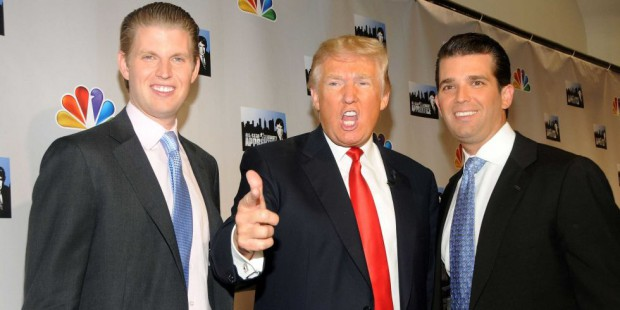 Donald Trump with his sons Eric Trump and Donald Trump Jr.