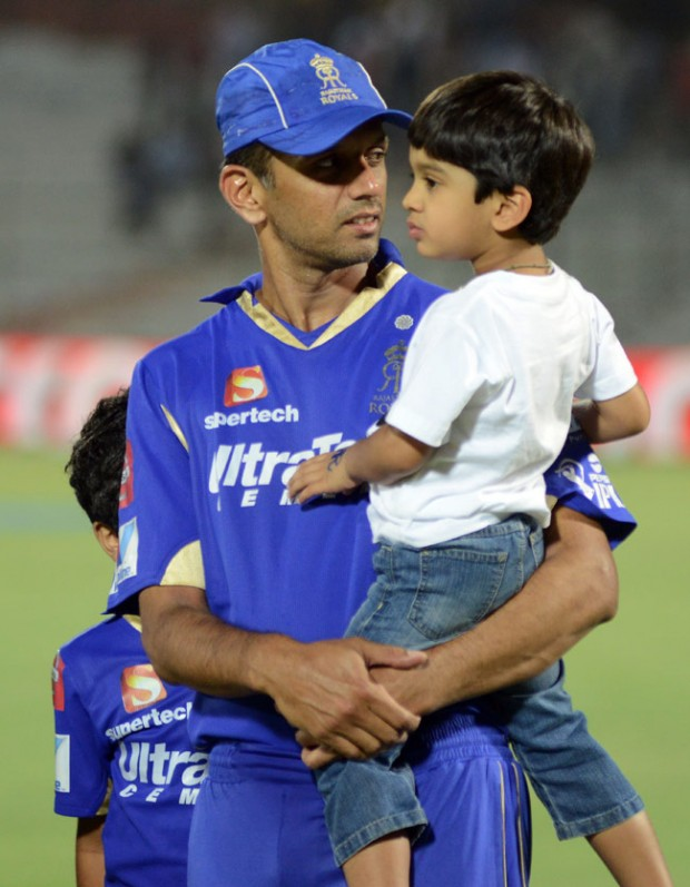 Dravid with His Younger Son Anvay
