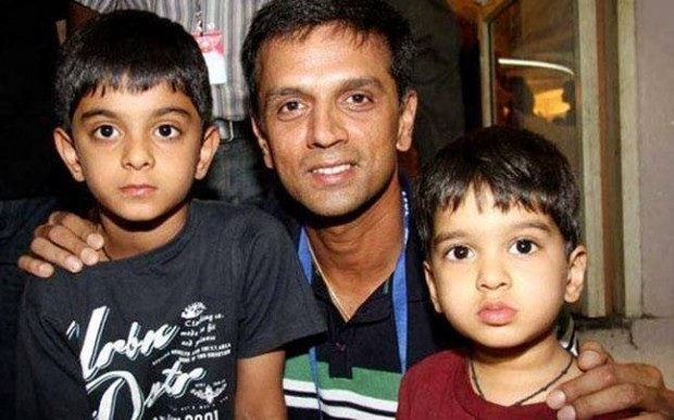 Dravid with His Sons Samit and Anvay