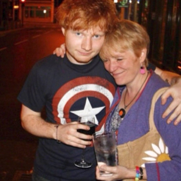 Ed with his mom Imogen Sheeran