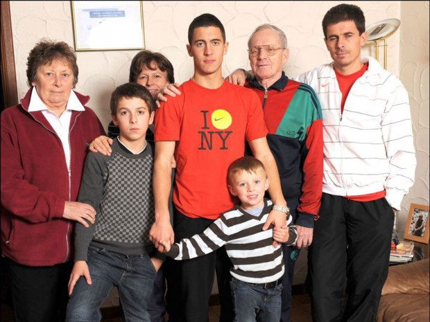 Eden Hazard with his family