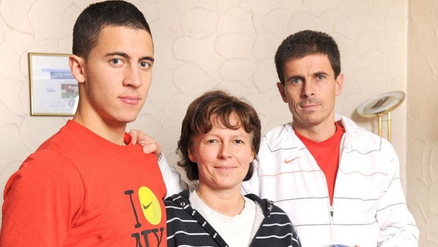Eden Hazard with his parents Thierry Hazard and Carine Hazard