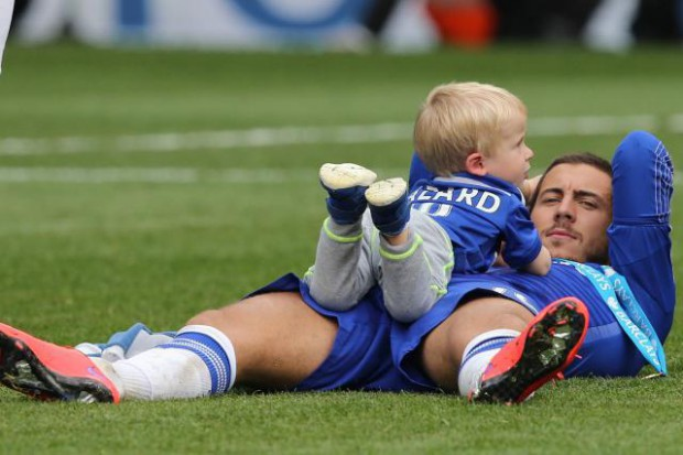 Eden Hazard on the pitch with his son Leo Hazard