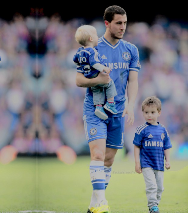 Eden Hazard with his sons