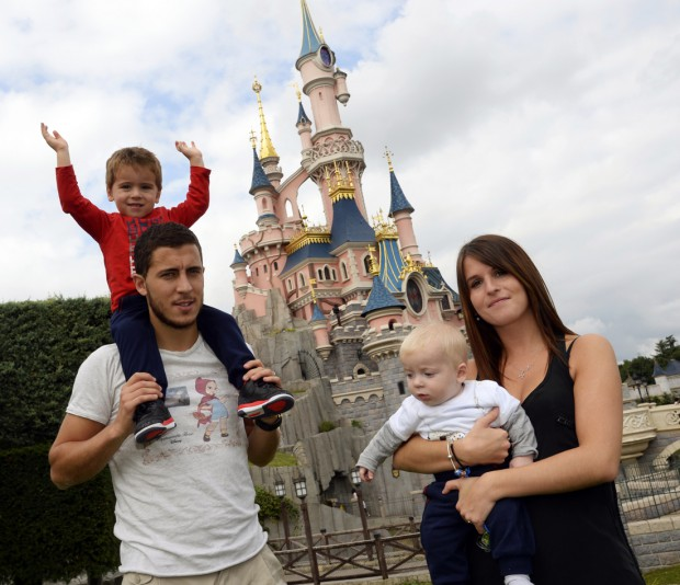 Eden with his wife Natcha and sons Leo and Yannis in Disneyland