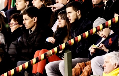 Eden Hazard watching his brother's game along with his wife and father