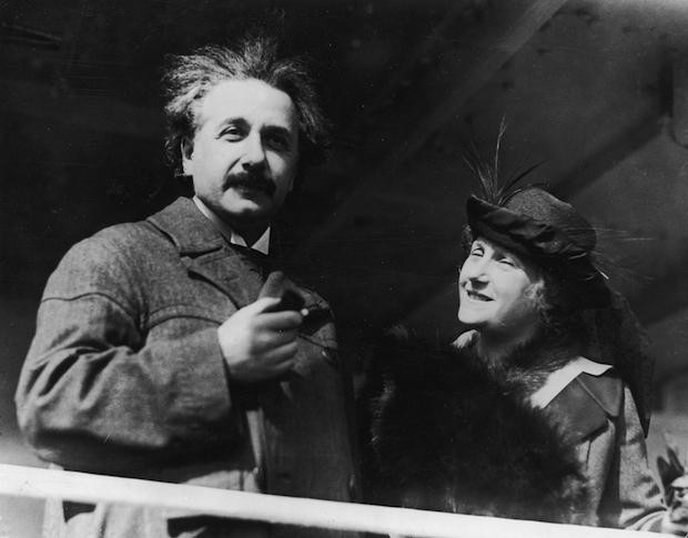 Einstein with his wife during his visit to Egypt