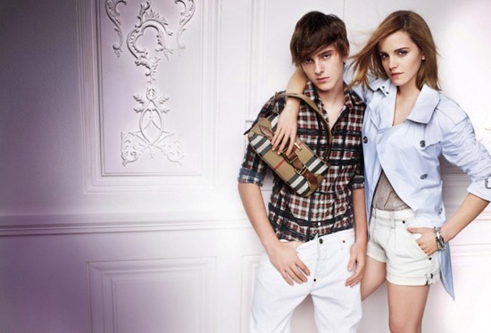 Emma and her brother during a photoshoot for Burberry