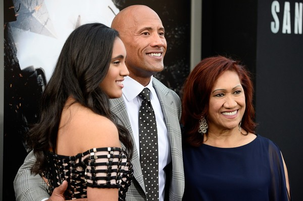 Dwayne Johnson with His Mother and Daughter