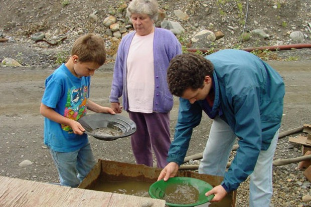 Erma Schnabel Watching His Grandson Parker's Gold Panning