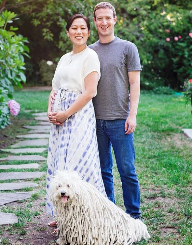 Mark and His Wife Priscilla Chan Along With Their Pet Dog Beast