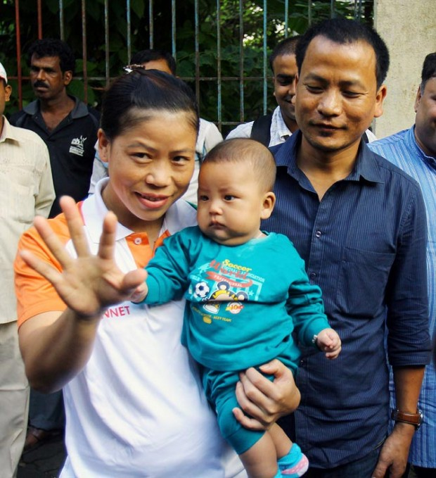 Mary Kom With Her Son Prince Chungthanglen Kom