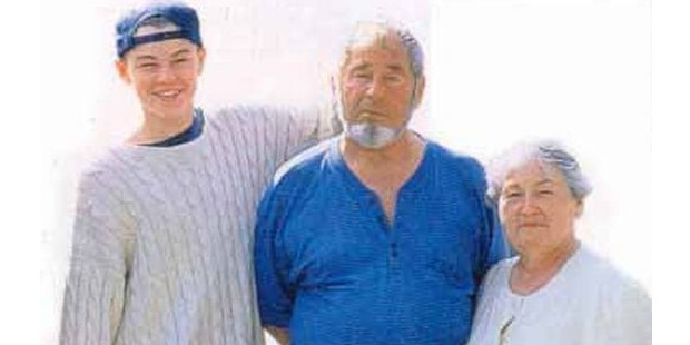Dicaprio with His Grand Parents in His Childhood