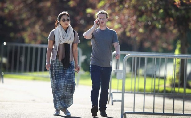 Priscilla Chan with Her Husband Mark Zuckerberg Walking Along