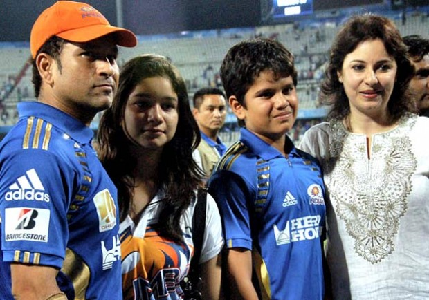 Sachin with his Family at an IPL Match
