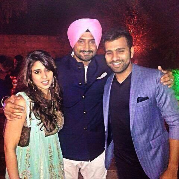 Rohit Sharma and His Wife With Harbhajan Singh