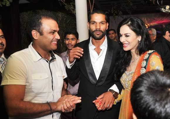 Ayesha And Shikhar Dhawan with virender sehwag