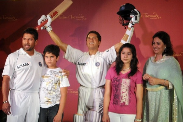 Sachin with his Family at His Wax Statue