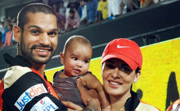 Shikhar Dhawan with His Son Zoravar Dhawan and Spouse Ayesha Mukherjee