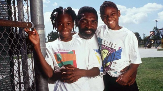 Venus and Serena in 1994 with their father