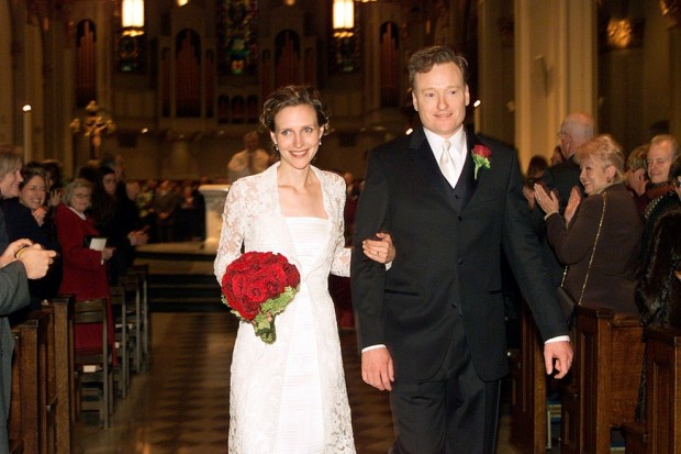 Conan O Brien With his Wife Liza Powel (Wedding)