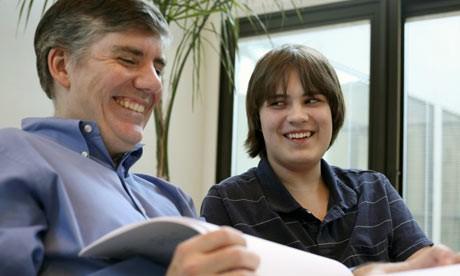Rick Riordan and his son Haley