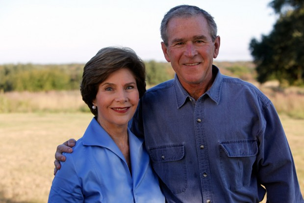 George W Bush with his Wife