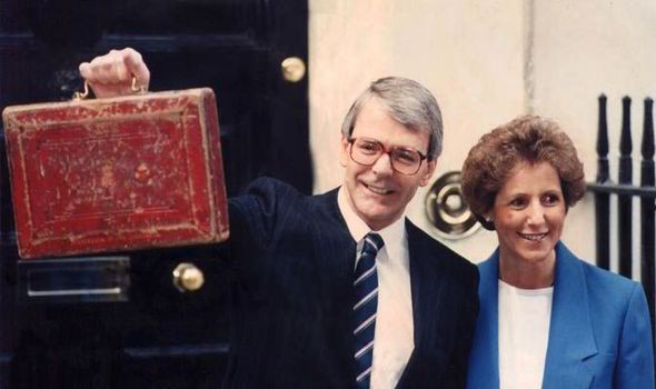 John Major with His Wife Norma During His First Budget in 1990
