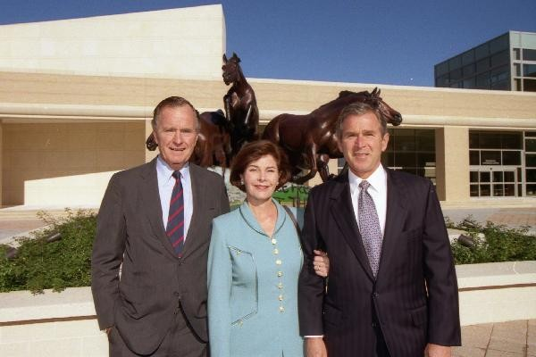 Bush With Father, George H. W. Bush And Wife, Laura Bush
