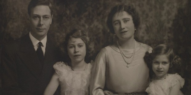King George VI and Queen Elizabeth with their daughters Princesses Elizabeth (left) and Margaret (right)