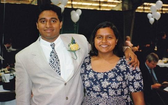 Actress Mindy Kaling and her Brother Vijay Chokal