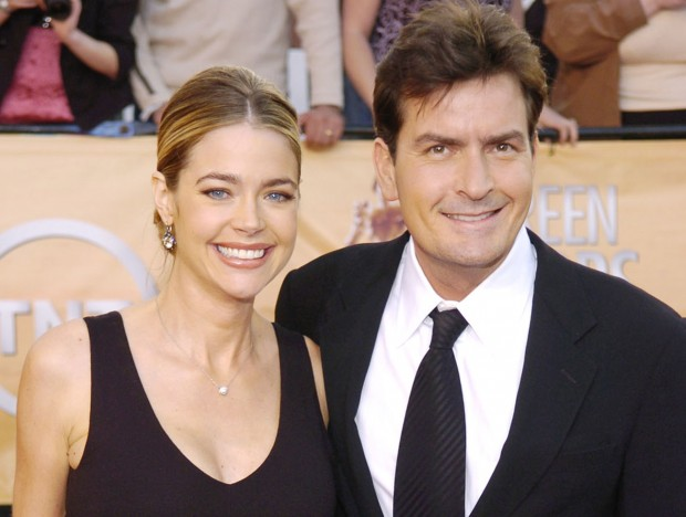 Charlie Sheen with his second wife  Denise Richards