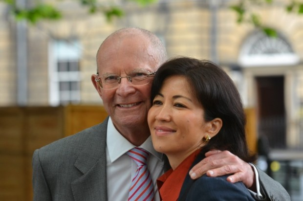 Wilbur Smith With His Present Wife Mokhiniso Smith