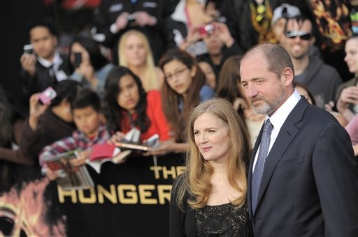 Suzanne Collins with her Husband at Hunger Games Premiere