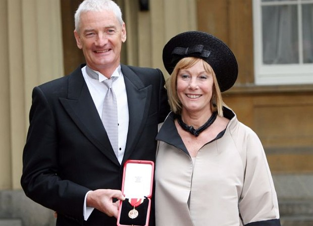 Sir James Dyson collects his knighthood with wife Deidre
