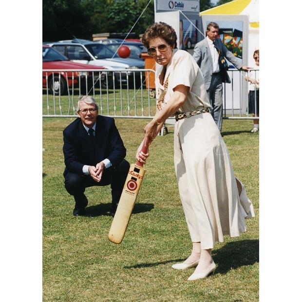 John Major doing Keeping While His Wife Norma Batting