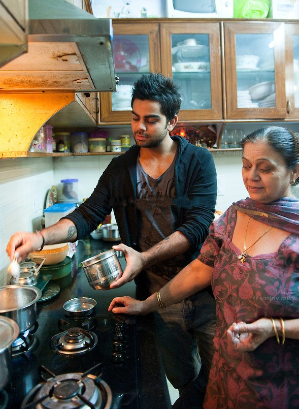 Kohli with His Mother Saroj Kohli