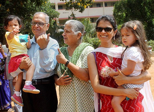 Narayana Murthy with His Family After Voting During Elections